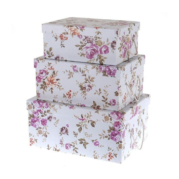 Sada 3 boxů Purple Roses