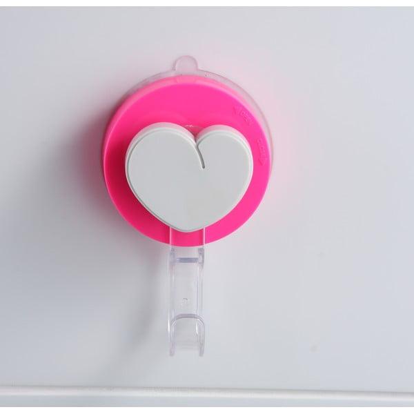 Cârlig cu montare fără găurire ZOSO Heart, roz