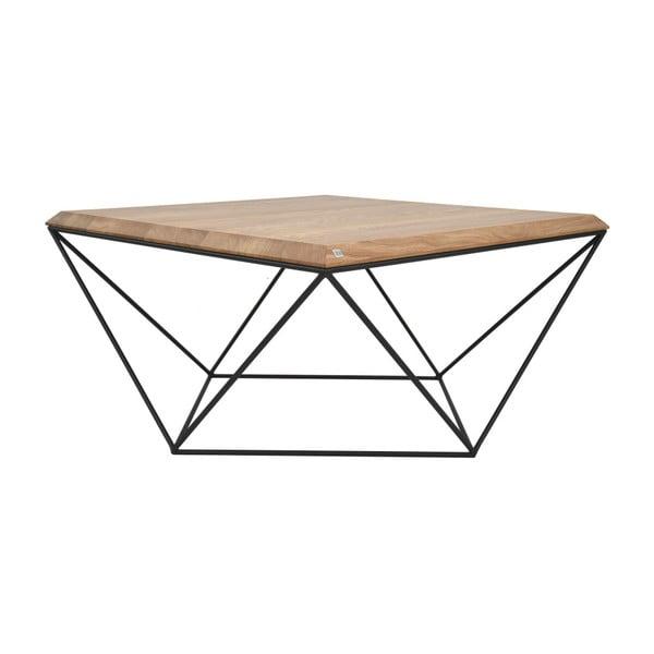 Černý konferenční stolek s deskou z dubového dřeva take me HOME Tulip, 80x80cm