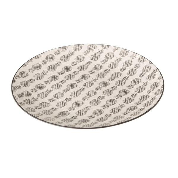 Šedobílý porcelánový talíř Unimasa Pinna