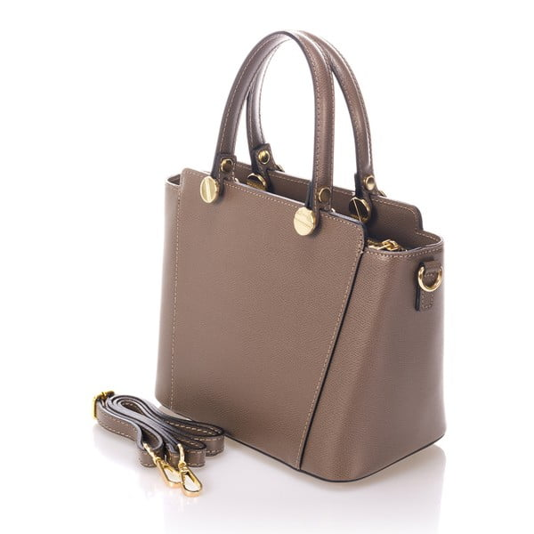 Béžová kožená kabelka Giulia Massari Karina