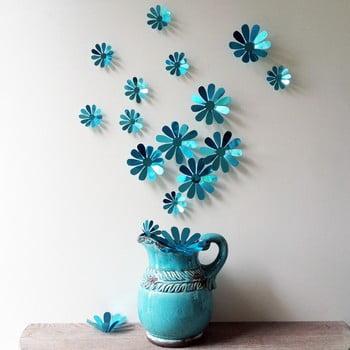 Set 12 autocolante 3D Ambiance Flowers Chic, albastru de la Ambiance