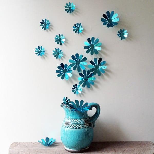 Zestaw 12 niebieskich naklejek elektrostatycznych 3D Ambiance Flowers Chic Blue