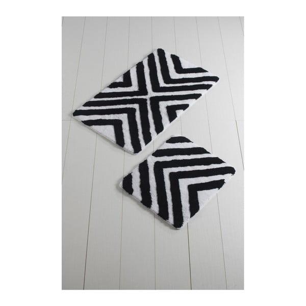 Komplet 2 czarno-białych dywaników łazienkowych Hipnoz