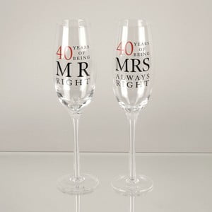 Sada 2 skleniček na šampaňské k 40. výročí Amore Mrs. Always Right, 180ml