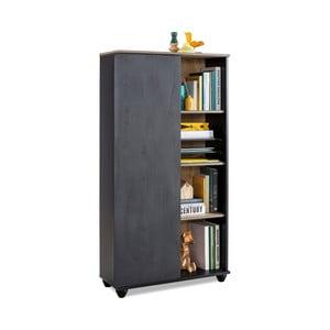 Černá knihovna Black Bookcase With Storage