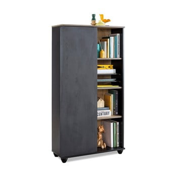 Bibliotecă Black Bookcase With Storage, negru