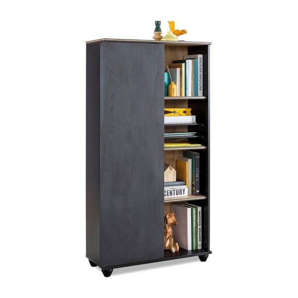 Black Bookcase With Storage fekete könyvszekrény
