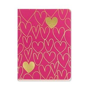 Zápisník A6 Go Stationery Gold Hearts Magenta