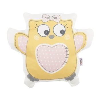Pernă din amestec de bumbac pentru copii Apolena Pillow Toy Owl, 32 x 26 cm, galben de la Apolena
