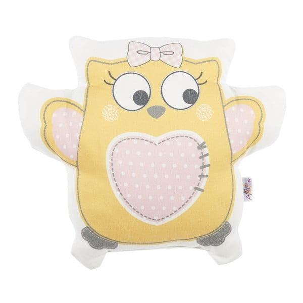 Žlutý dětský polštářek s příměsí bavlny Apolena Pillow Toy Owl, 32 x 26 cm