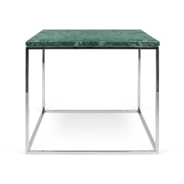 Zielony stolik marmurowy z chromowanymi nogami TemaHome Gleam, 50x50 cm