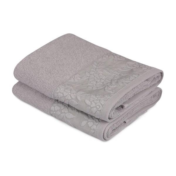 Sada 2 šedých ručníků z čisté bavlny, 50 x 90 cm