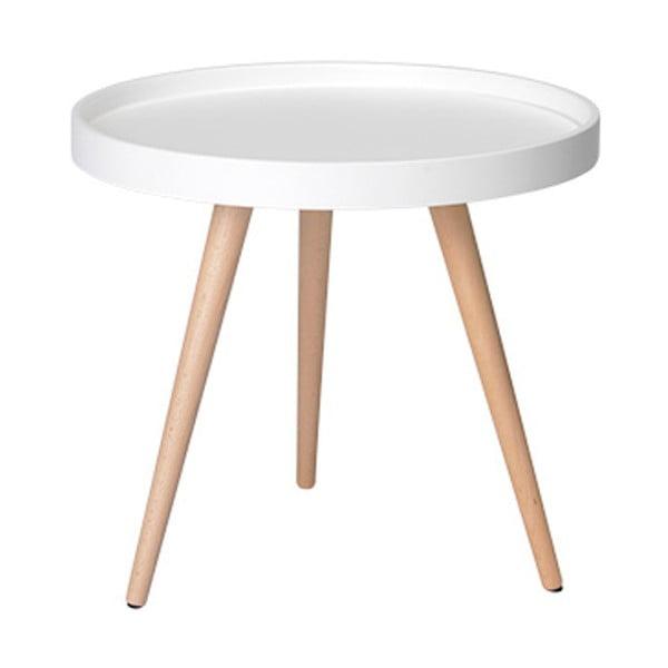 Biely konferenčný stolík s nohami z bukového dreva Furnhouse Opus, Ø 50 cm