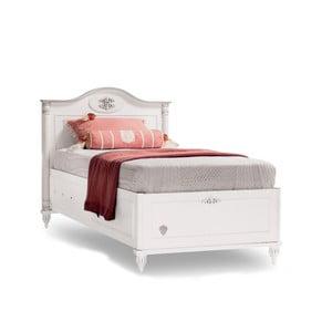 Bílá jednolůžková postel s úložným prostorem Romantica Bed With Base, 90 x 190 cm