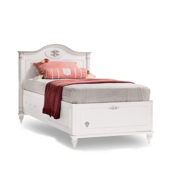 Romantica Bed With Base egyszemélyes fehér ágy tárolóhellyel, 90 x 190 cm