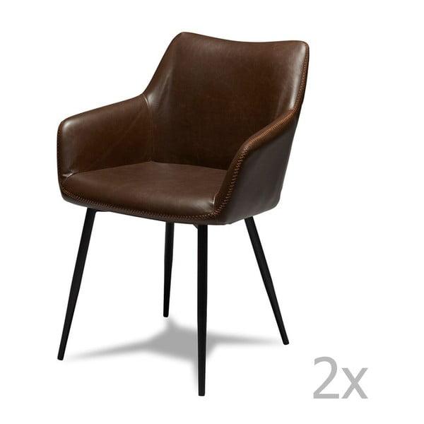 Sada 2 tmavě hnědých židlí Furnhouse Maria
