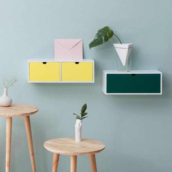 Raft de perete cu sertar Furniteam Design, alb - verde