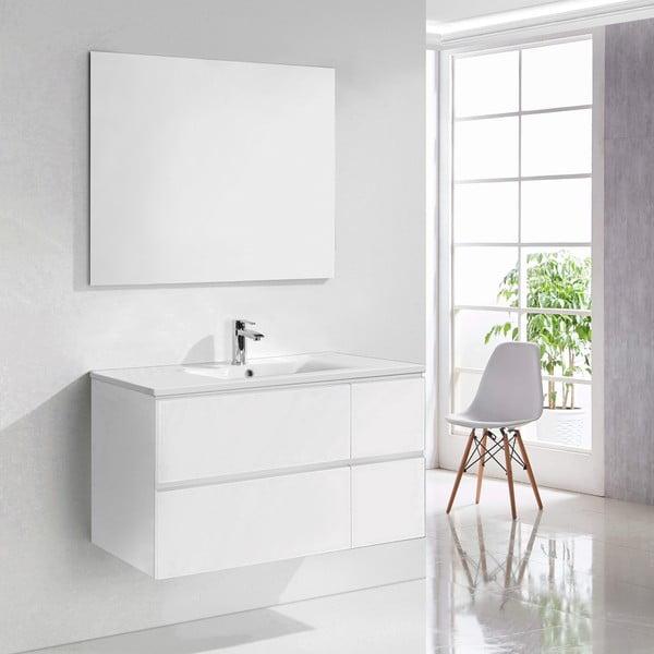 Koupelnová skříňka s umyvadlem a zrcadlem Capri, odstín bílé, 100 cm