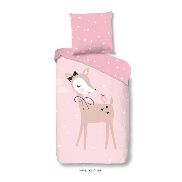 Dětské bavlněné povlečení na jednolůžko Muller Textiels Dolly Pink, 120 x 150 cm