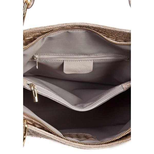 Hnědošedá kožená kabelka Massimo Castelli Ravenna