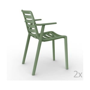 Sada 2 zelených zahradních židlí s područkami Resol Slatkat