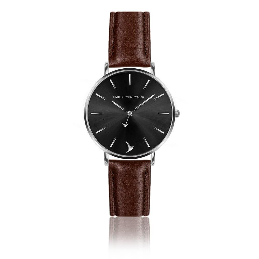 Dámské hodinky s páskem z pravé kůže v tmavě hnědé barvě Emily Westwood Durito