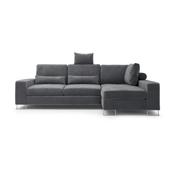 Tmavosivá rozkladacia rohová pohovka so zamatovým poťahom Windsor & Co Sofas Diane, pravý roh