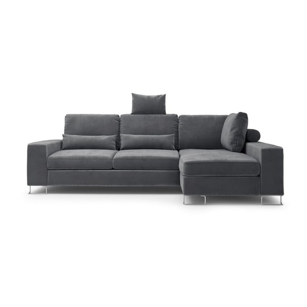 Tmavě šedá rozkládací rohová pohovka se sametovým potahem Windsor & Co Sofas Diane, pravýroh