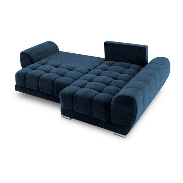 Canapea extensibilă cu înveliș de catifea Windsor & Co Sofas Nuage, pe partea dreaptă, albastru