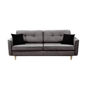 Canapea extensibilă cu 3 locuri Mazzini Sofas Ivy, gri închis