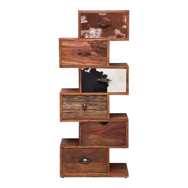Komoda z palisandrového dreva s koženými detailmi Kare Design Rodeo Zick Zack, výška 120 cm