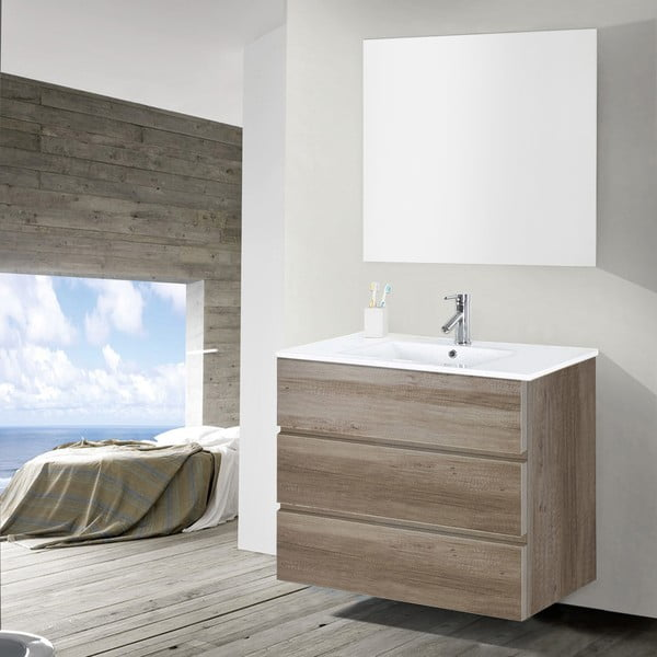 Koupelnová skříňka s umyvadlem a zrcadlem Nayade, dekor dubu, 90 cm