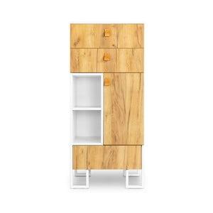 Dulap din lemn de stejar cu 3 sertare SKANDICA Hesse, înălțime 135 cm