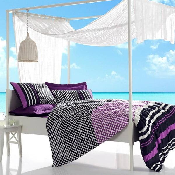 Povlečení s prostěradlem Feride Purple, 200x220 cm