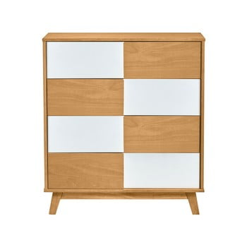 Comodă cu detalii albe Marckeric Yari, 80 x 89 cm