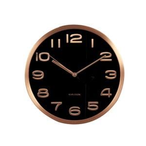 Černé hodiny Present Time Maxie Copper