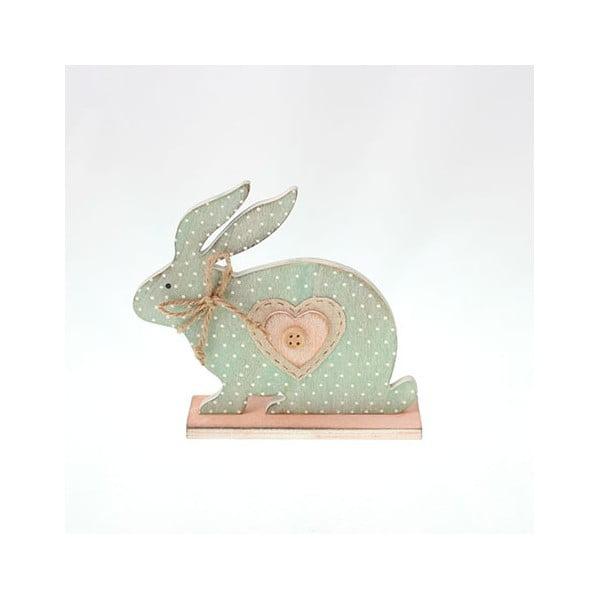 Dekorativní dřevěný modrý zajíc, 15 cm