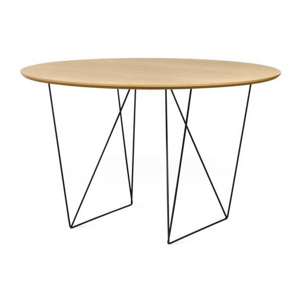 Stół w kolorze dębu z czarnymi nogami TemaHome Row, ⌀ 120cm