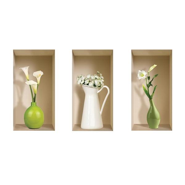 3D samolepky na zeď Nisha Vases Blanc