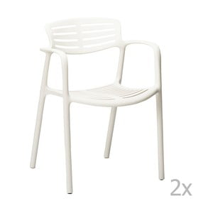 Sada 4 bílých zahradních židlí s područkami Resol Toledo Aire