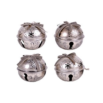 Set 4 decorațiuni de agățat – clopoței Ego Dekor, argintiu de la Ego Dekor