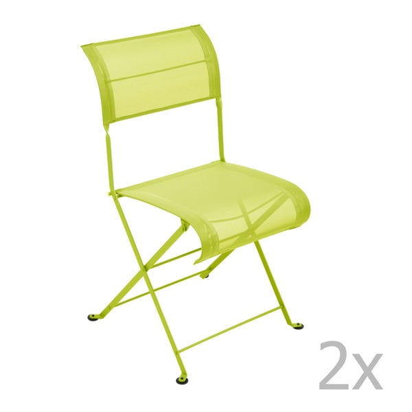 Sada 2 limetkově zelených skládacích židlí Fermob Dune