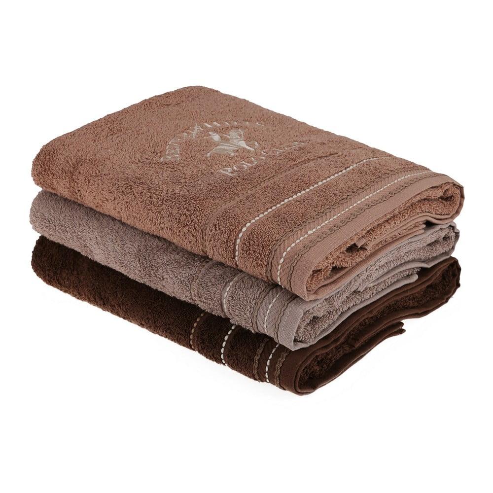 Sada 3 hnědých bavlněných ručníků, 140 x 70 cm