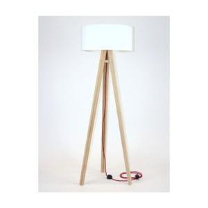 Lampadar cu abajur alb și cablu roșu Ragaba Wanda