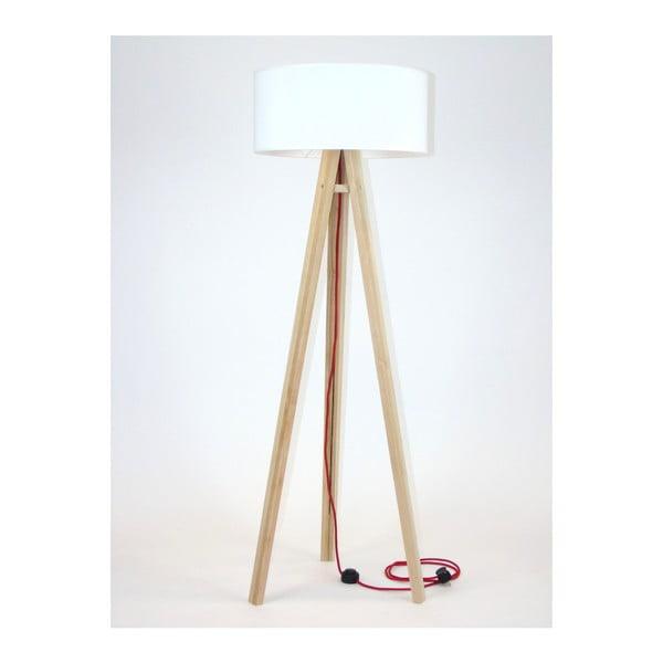 Wanda állólámpa, fehér lámpabúrával és piros kábellel - Ragaba