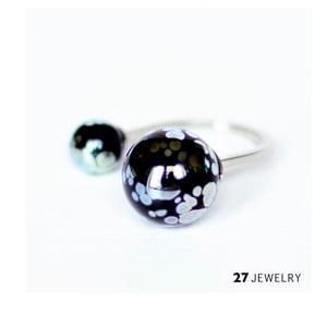 Silver Splash dvojitý prsten ze skla