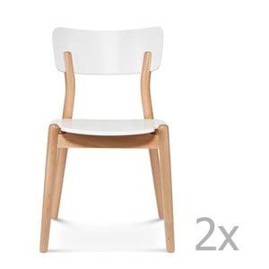 Sada 2 bílých dřevěných židlí Fameg Tyge