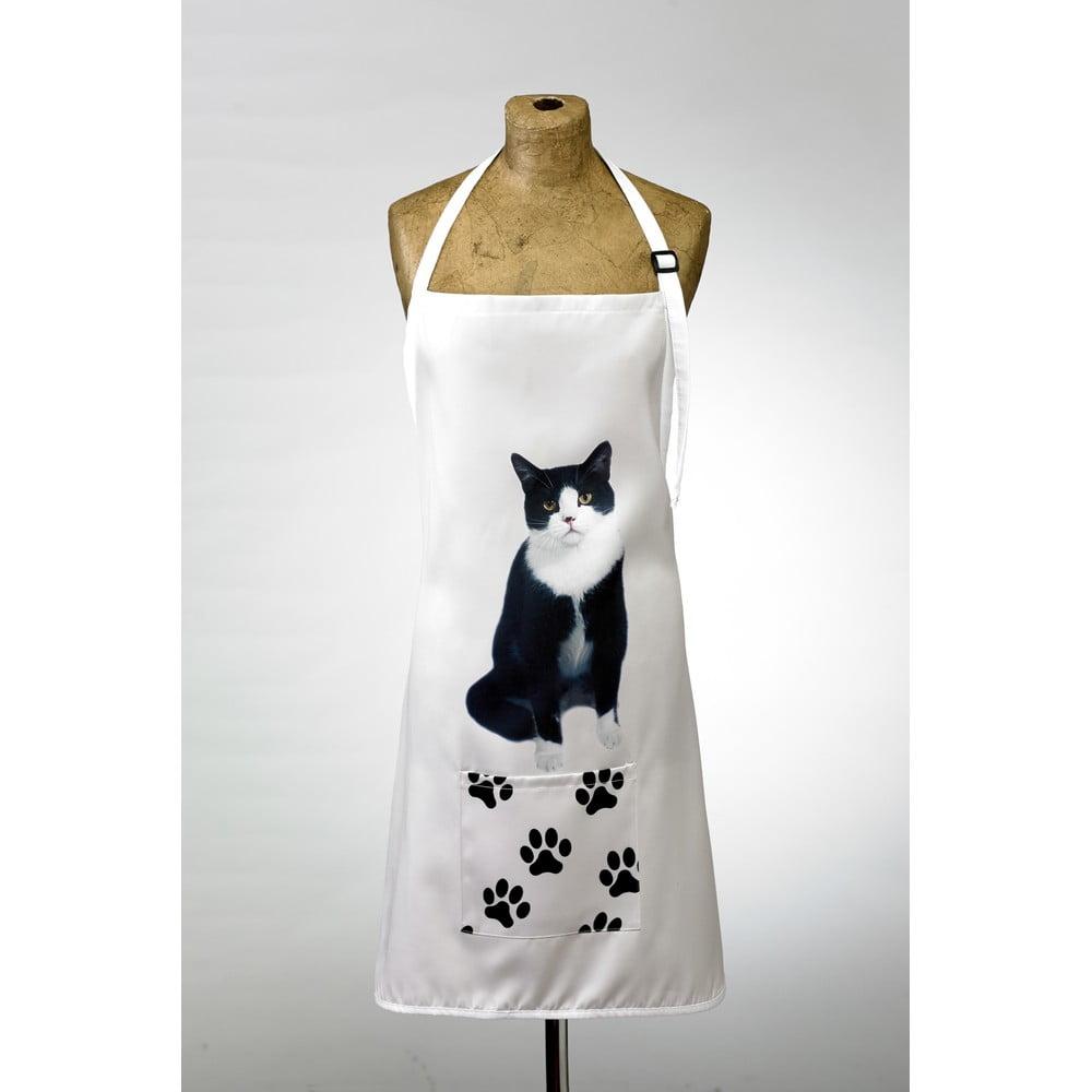 Kuchyňská zástěra s potiskem černobílé kočky AdorableCushions