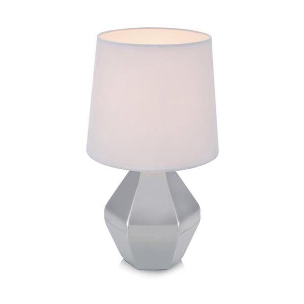 Stříbrná stolní lampa s bílým stínidlem Markslöjd Ruby